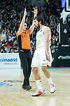 Sergio Llull celebrates a three points shoot during Real Madrid vs Kirolbet Baskonia game of Liga Endesa. 19 January 2020. (Alterphotos/Francis Gonzalez)