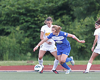 Boston Breakers forward Katie Schoepfer (12) accelerates out of the corner as Western New York Flash defender Katherine Reynolds (16) defends. In a National Women's Soccer League Elite (NWSL) match, the Boston Breakers (blue) tied Western New York Flash (white), 2-2, at Dilboy Stadium on June 5, 2013.