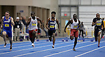BROOKINGS, SD - FEBRUARY 25:  Malachi Adams from Western Illinois leads the field to the finish line of the men's 60 meter dash at the 2017 Summit League Indoor Track and Field Championship Saturday afternoon in Brookings, SD. (Photo by Dave Eggen/Inertia)