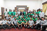 Palestinian President Mahmoud Abbas meets with Players of the Saudi Football Federation in the West Bank city of Ramallah, on October 13, 2019. Photo by Thaer Ganaim