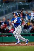 Rancho Cucamonga Quakes second baseman Omar Estevez (21) follows through on his swing during a California League game against the Stockton Ports at Banner Island Ballpark on May 16, 2018 in Stockton, California. Rancho Cucamonga defeated Stockton 6-3. (Zachary Lucy/Four Seam Images)