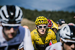 The peloton including Yellow Jersey Geraint Thomas (WAL) Team Sky during Stage 15 of the 2018 Tour de France running 181.5km from Millau to Carcassonne, France. 22nd July 2018. <br /> Picture: ASO/Pauline Ballet | Cyclefile<br /> All photos usage must carry mandatory copyright credit (&copy; Cyclefile | ASO/Pauline Ballet)