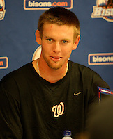 "Syracuse Chiefs starting pitcher Stephen Strasburg answers questions in a press conference after a game vs. the Buffalo Bisons at Coca-Cola Field in Buffalo, New York;  Thursday June 3, 2010.  Syracuse defeated Buffalo by the score of 7-1 as Strasburg picked up his fourth win of the season in ""AAA"".  Photo By Mike Janes/Four Seam Images"