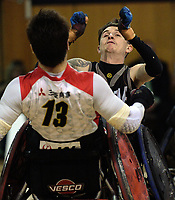 Cody Everson gets a pass away under pressure during the 2017 International Wheelchair Rugby Federation Asia-Oceania Zone Championships tournament match between the New Zealand Wheel Blacks and Japan at ASB Stadium in Auckland, New Zealand on Thursday, 31 August 2017. Photo: Dave Lintott / lintottphoto.co.nz