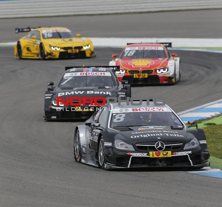 DTM 2015, 01.Lauf Hockenheimring, 01.05. - 03.05.15 <br /> Christian Vietoris (DEU#8) gooix/Original-Teile Mercedes-AMG C-Coup&eacute; , Bruno Spengler (CDN#7) BMW Team MTEK BMW M4 DTM , Augusto Farfus (BRA#18) BMW Team RBM BMW M4 DTM , Timo Glock (DEU#16) BMW Team MTEK BMW M4 DTM <br /> <br /> <br /> <br /> Foto &copy; nordphoto /  Bratic