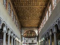 Interior of Basilica of Saint Sabina, circa 432 AD, Aventine Hill, Rome, Italy
