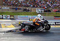 Jul. 19, 2013; Morrison, CO, USA: NHRA pro stock motorcycle rider James Surber during qualifying for the Mile High Nationals at Bandimere Speedway. Mandatory Credit: Mark J. Rebilas-
