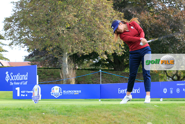 Amy Lee (USA) on the 1st tee during Day 2 Singles for the Junior Ryder Cup 2014 at Blairgowrie Golf Club on Tuesday 23rd September 2014.<br /> Picture:  Thos Caffrey / www.golffile.ie