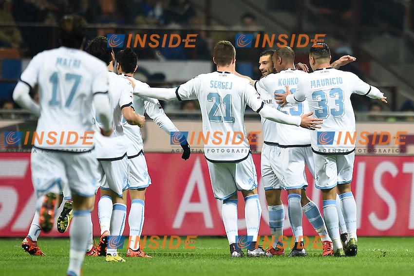Esultanza dopo il gol di Antonio Candreva Lazio, goal celebration <br /> Milano 20-12-2015 Stadio Giuseppe Meazza . Football Calcio Serie A 2015/2016 Inter - Lazio <br /> Foto Image Sport / Insidefoto