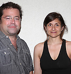 """Director Peter DuBois and Playwright Gina Gionfriddo.attending the Meet & Greet for the Playwrights Horizons production of """"Rapture, Blister, Burn'  at their rehearsal studio in New York City on 4/17/2012"""