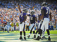 Sep. 20, 2009; San Diego, CA, USA; Baltimore Ravens running back (23) Willis McGahee celebrates his first quarter touchdown against the San Diego Chargers at Qualcomm Stadium in San Diego. Baltimore defeated San Diego 31-26. Mandatory Credit: Mark J. Rebilas-