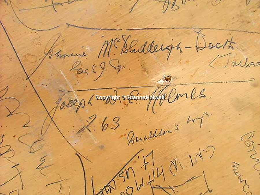 BNPS.co.uk (01202 558833)<br /> Pic: SuanneHolwell/BNPS<br /> <br /> John Booth 59 Sqn. <br /> <br /> Sections of a torn-down pub ceiling which are covered in 250 signatures from World War Two heroes have been salvaged and turned into a memorial.<br /> <br /> The merry airmen left their mark during raucous evenings at the George and Dragon in the village of Clyst St George in Devon.<br /> <br /> Many of the brave men who signed or drew on the wood ceiling perished in the war in the skies with the Luftwaffe.<br /> <br /> One of them, Sergeant Albert Stilin, of 257 Squadron, was killed aged 21 when he crashed his Hurricane into this pub's roof on September 30, 1942. Another airman later put the initials 'RIP' put after his name.<br /> <br /> The ceiling was taken down in 1975 and half of it was destroyed. <br /> <br /> Robin and Suzannah Holwell recovered the surviving planks from a RAFA association store room in 2009 and have carried out a decade-long preservation project, putting the sections in frames and researching the men behind signatures.