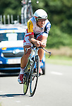 SITTARD, NETHERLANDS - AUGUST 16: Jonas Van Genechten of Belgium riding for Lotto Belisol competes during stage 5 of the Eneco Tour 2013, a 13km individual time trial from Sittard to Geleen, on August 16, 2013 in Sittard, Netherlands. (Photo by Dirk Markgraf/www.265-images.com)