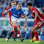28.09.2018 Rangers v Aberdeen: Zak Vyner blocks a Scott Arfield shot