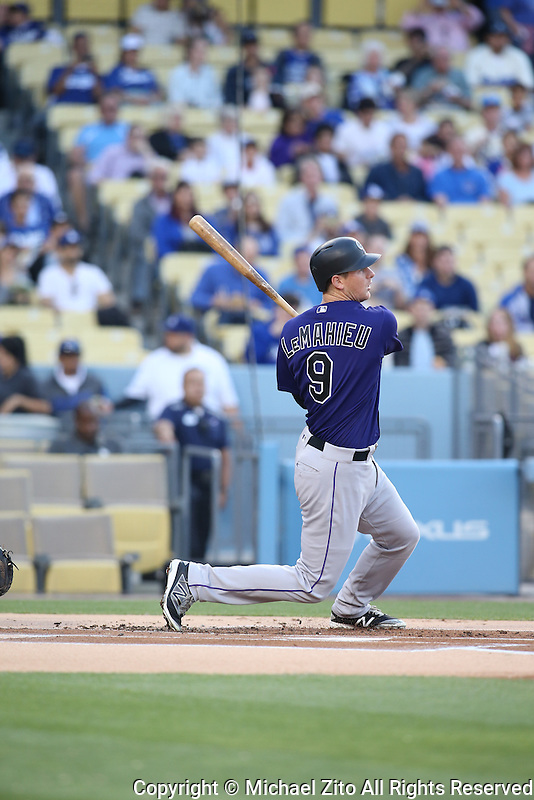 June 7, 2016, Los Angeles, CA: Colorado Rockies second baseman DJ LeMahieu #9 In a MLB game played at Dodger Stadium between the colorado Rockies and Los Angeles Dodgers