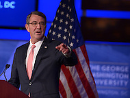 Washington, DC - November 18, 2015: U.S. Secretary of Defense Ashton B. Carter gestures to a member of the audience as he announces the 'Force of the Future' initiative before an audience at the George Washington University's Jack Morton Auditorium in the District of Columbia. November 18, 2015  (Photo by Don Baxter/Media Images International)
