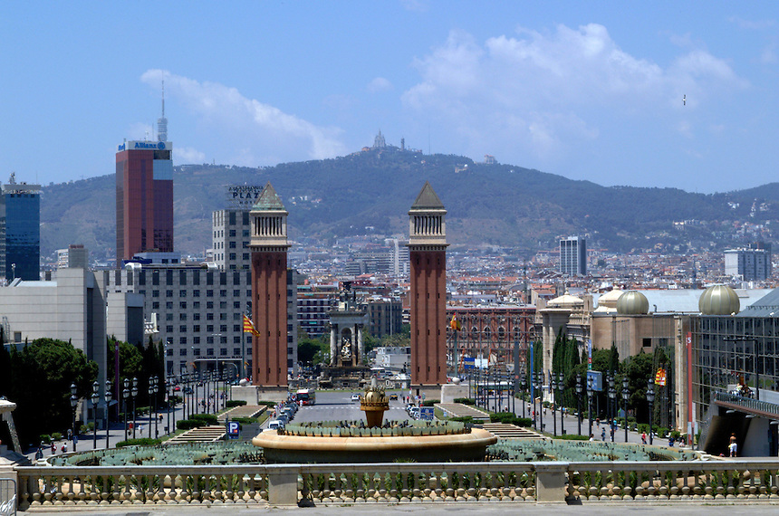 Looking across the city to the hill, Tibidabo, from the Presidential Palace in Barcelona, Spain.