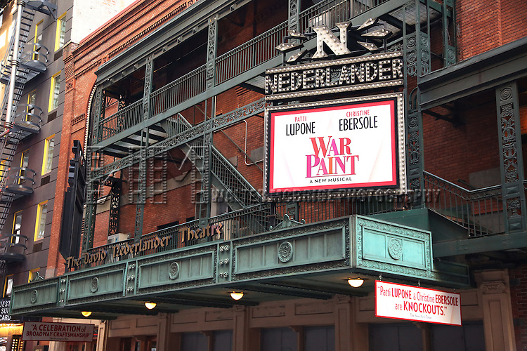 Theatre Marquee unveiling for 'War Paint' starring Patti LuPone and Christine Ebersole at the Nederlander Theatre on November 25, 2016 in New York City.
