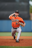 Baltimore Orioles pitcher J.J. Montgomery (87) delivers a pitch during a Florida Instructional League game against the Tampa Bay Rays on October 1, 2018 at the Charlotte Sports Park in Port Charlotte, Florida.  (Mike Janes/Four Seam Images)