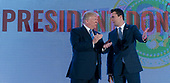 United States President Donald J. Trump is introduced by Charlie Kirk, president and founder of Turning Point USA, prior to making remarks at Turning Point USA's Teen Student Action Summit 2019 in Washington, DC on July 23, 2019. <br /> Credit: Chris Kleponis / Pool via CNP