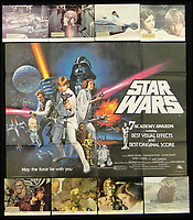 BNPS.co.uk (01202 558833)<br /> Pic: Burstow&amp;Hewett/BNPS<br /> <br /> Star Wars Academy Awards print poster and Return of the Jedi poster with 8 lobbycards.<br /> <br /> A late film buff's collection of 400 vintage movie posters has emerged for auction and is tipped to sell for &pound;15,000.<br /> <br /> The collection was amassed by a man who worked for several decades at the Marble Arch Odeon cinema in London which in its heyday was one of the capital's flagship cinemas.<br /> <br /> He sadly died a couple of years ago but bestowed the posters - which once were on display in the cinema - to a life-long friend who has decided to put them on the market.<br /> <br /> Many of the posters are from classic film franchises including Star Wars and James Bond as well as iconic Disney films such as Snow White and the Seven Dwarfs and Cinderella.