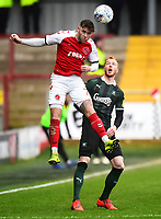 Fleetwood Town's Wes Burns wins the ball in the air<br /> <br /> Photographer Richard Martin-Roberts/CameraSport<br /> <br /> The EFL Sky Bet League One - Fleetwood Town v Plymouth Argyle - Saturday 16th March 2019 - Highbury Stadium - Fleetwood<br /> <br /> World Copyright © 2019 CameraSport. All rights reserved. 43 Linden Ave. Countesthorpe. Leicester. England. LE8 5PG - Tel: +44 (0) 116 277 4147 - admin@camerasport.com - www.camerasport.com