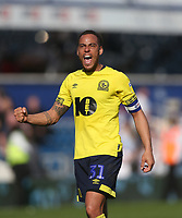 Blackburn Rovers' Elliott Bennett celebrates at the end of the game<br /> <br /> Photographer Rob Newell/CameraSport<br /> <br /> The EFL Sky Bet Championship - Queens Park Rangers v Blackburn Rovers - Friday 19th April 2019 - Loftus Road - London<br /> <br /> World Copyright © 2019 CameraSport. All rights reserved. 43 Linden Ave. Countesthorpe. Leicester. England. LE8 5PG - Tel: +44 (0) 116 277 4147 - admin@camerasport.com - www.camerasport.com