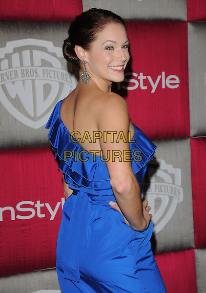 AMANDA RIGHETTI.The 10th Annual Instyle & WB Golden Globes After Party held at Oasis Court in The Beverly Hilton Hotel in Beverly Hills, California, USA..January 11th, 2009                                                                                                                                 .half length blue one shoulder ruffled ruffles dress hand on hip looking over.CAP/DVS.©Debbie VanStory/Capital Pictures.