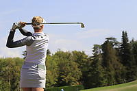 Nelly Korda (USA) tees off the par3 5th tee during Thursday's Round 1 of The Evian Championship 2018, held at the Evian Resort Golf Club, Evian-les-Bains, France. 13th September 2018.<br /> Picture: Eoin Clarke | Golffile<br /> <br /> <br /> All photos usage must carry mandatory copyright credit (&copy; Golffile | Eoin Clarke)