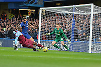 Angelo Ogbonna of West Ham United clears a cross during Chelsea vs West Ham United, Premier League Football at Stamford Bridge on 30th November 2019