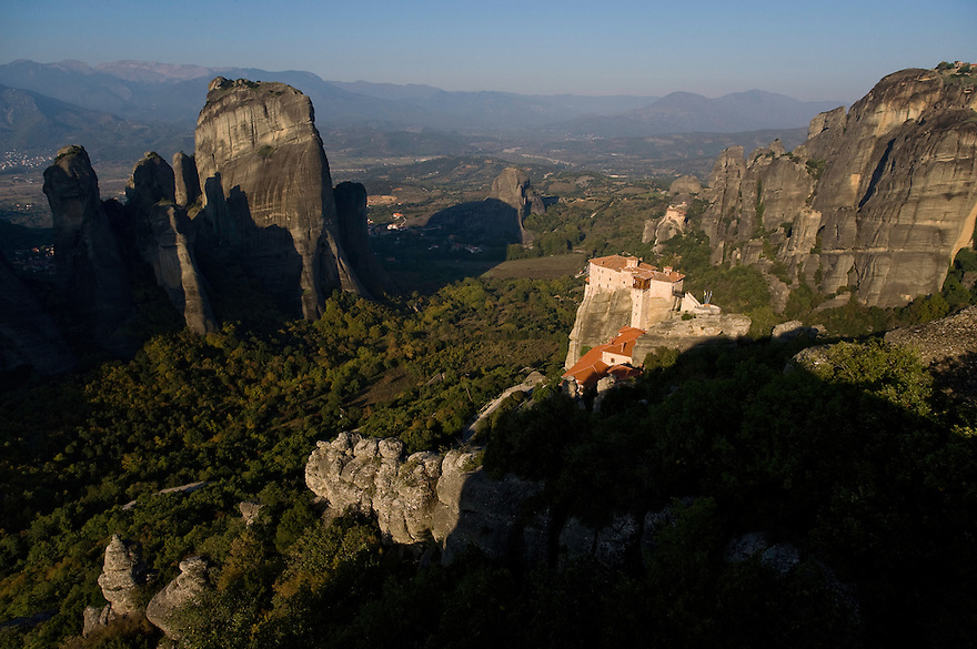 Greece, Meteora, Roussanou Monastery in sunrise
