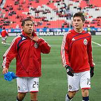 22 April 2009: Chivas USA midfielder Gerson Mayen #24 and Chivas USA midfielder Jorge Flores #19 during the warm-up at BMO Field in a MLS game between Chivas USA and Toronto FC.Toronto FC won 1-0. .