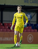 Goalkeeper Marcin BULKA of Chelsea during the Under 23 Premier League 2 match between Chelsea U23 and Leicester City U23 at the Electrical Services Stadium, Aldershot, England on 2 February 2018. Photo by Andy Rowland / PRiME Media Images.