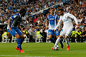 1st October 2017, Santiago Bernabeu, Madrid, Spain; La Liga football, Real Madrid versus Espanyol; Jose I Fernandez Iglesias (6) Real Madrid takes on Leo Baptistao (11) Espanyol
