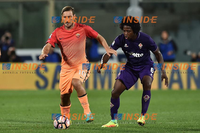 Francesco Totti Roma, Carlos Sanchez Fiorentina.<br /> Firenze 18-09-2016 Stadio Artemio Franchi <br /> Football Calcio Serie A <br /> Fiorentina - Roma <br /> Foto Andrea Staccioli / Insidefoto
