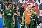 15.04.2018, Weser Stadion, Bremen, GER, 1.FBL, Werder Bremen vs RB Leibzig, im Bild<br /> <br /> <br /> Dank an die Fans nach dem Spiel  <br /> <br /> Thomas Delaney (Werder Bremen #6)<br /> Niklas Moisander (Werder Bremen #18)<br /> Johannes Eggestein (Werder Bremen #24)<br /> Zlatko Junuzovic (Werder Bremen #16)<br /> Florian Kohfeldt (Trainer SV Werder Bremen)<br /> Foto &copy; nordphoto / Kokenge