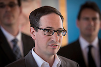 Interim leader of the Parti Quebecois Stephane Bedard is pictured during the presentation of parti Quebecois candidates for the upcoming byelection Tuesday May 5, 2015.