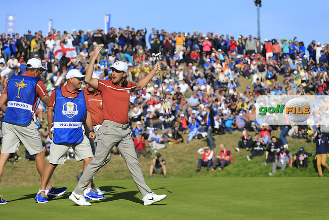 Tommy Fleetwood (Team Europe) sinks his putt on the 9th green during Saturday's Foursomes Matches at the 2018 Ryder Cup 2018, Le Golf National, Ile-de-France, France. 29/09/2018.<br /> Picture Eoin Clarke / Golffile.ie<br /> <br /> All photo usage must carry mandatory copyright credit (© Golffile   Eoin Clarke)