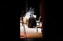 """Maria Laura Rondanini, actress, spreads the tablecloth in the theater piece Rameau's Nephew by Denis Diderot, directed by Silvio Orlando at Elfo-Puccini Theatre, Milan, March 2013. © Carlo Cerchioli..Maria Laura Rondanini, attrice, stende una tovaglia nella piece teatrale """"Il nipote di Rameau"""" di Denis Diderot diretto da Silvio Orlando al Teatro Elfo-Puccini, Milano marzo 2013."""