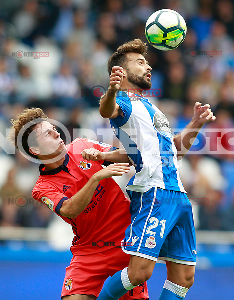 Deportivo de la Coruna's Bruno Gama (r) and Real Sociedad's Alvaro Odriozola during La Liga match. September 10,2017. (ALTERPHOTOS/Acero) /NortePhoto.com