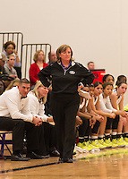 Cedar Ridge head coach Angela Beck watches her team play against Pflugerville Friday.  The Raiders lost to the Panthers 70-66.  (LOURDES M SHOAF for Round Rock Leader.)