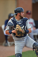 Brevard County Manatees catcher Dustin Houle (9) during a game against the Lakeland Flying Tigers on April 20, 2016 at Henley Field in Lakeland, Florida.  Lakeland defeated Brevard County 5-2.  (Mike Janes/Four Seam Images)
