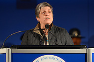 May 13, 2013  (Washington, DC)  Homeland Security Secretary Janet Napolitano speaks at the 25th Annual Candlelight Vigil held at the National Law Enforcement Officers Memorial in the District of Columbia. The event is part of National Police Week. (Photo by Don Baxter/Media Images International)