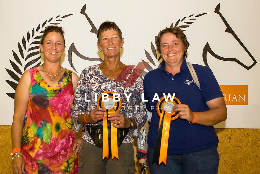 GRADE IV PARA-EQUESTRIAN CHAMPION: Jayne Craike (SHOWFIELDS PAPANUI CRUSADER) RESERVE: Jo Jackson (JD FLASH) Presented by: Jody Hartstone: 2015 NZL-Bates NZ Dressage Championships, Manfeild Park - Feilding (Friday 6 March) CREDIT: Libby Law COPYRIGHT: LIBBY LAW PHOTOGRAPHY