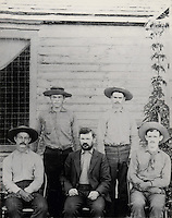 The Wetherill brothers, (left-right) Al, Win, Richard and John, a family of Colorado ranchers who also helped rediscover many of the State's ancient Puebloan sites, photograph, c. 1893, in the Anasazi Heritage Center, an archaeological museum of Native American pueblo and hunter-gatherer cultures, Dolores, Colorado, USA. Picture by Manuel Cohen