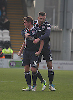 Mihael Kovacevic congratulates Richard Brittain in the St Mirren v Ross County Clydesdale Bank Scottish Premier League match played at St Mirren Park, Paisley on 19.1.13.