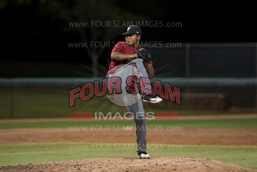 AZL Diamondbacks relief pitcher Ezequiel De La Cruz (14) delivers a pitch during an Arizona League game against the AZL White Sox at Camelback Ranch on July 12, 2018 in Glendale, Arizona. The AZL Diamondbacks defeated the AZL White Sox 5-1. (Zachary Lucy/Four Seam Images)