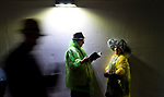 LOUISVILLE, KY - MAY 05: Fans crowd the tunnel to escape the downpour on Kentucky Derby Day at Churchill Downs on May 5, 2018 in Louisville, Kentucky. (Photo by Scott Serio/Eclipse Sportswire/Getty Images)