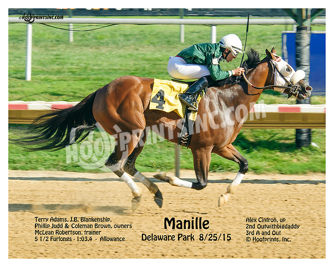 Manille w/no logo winning at Delaware Park on 8/25/15