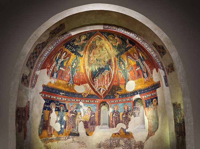 Twelfth century Romanesque frescoes of the Apse of Estaon depicting Christ Pantocrator ( In Majesty) surrounded by Byzantine style angels, and below scenes from the Baptism of Christ, from the church of Sant Eulalia d'Estaon, Vall de Cardos, Catalonia, Spain. National Art Museum of Catalonia, Barcelona. MNAC 15969
